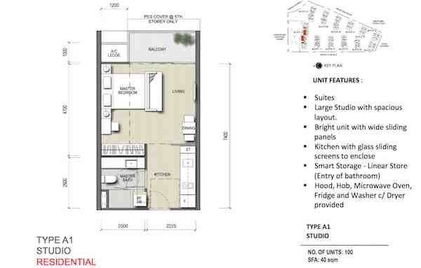 North Park Residences Studio Floor Plan