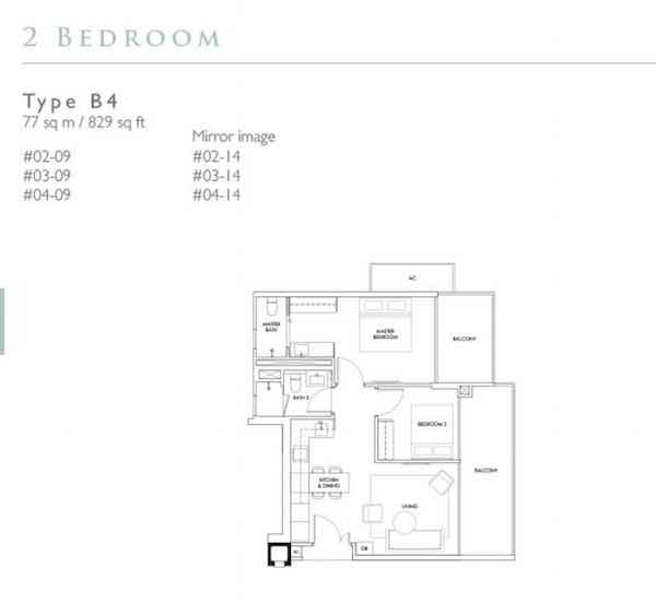 Robin Residences 2 Bedroom Floor Plan