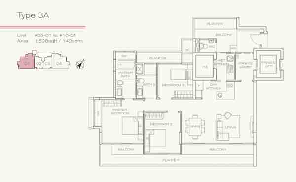 Three Balmoral 3 bedroom floor plan