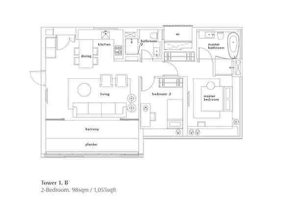 OUE Twin Peaks floor plan 2 Bedroom