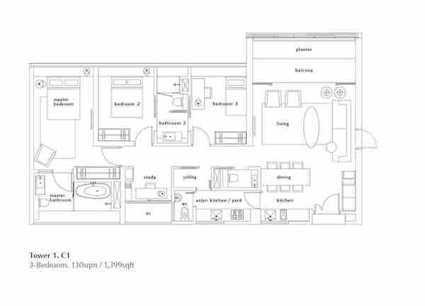 OUE Twin Peaks floor plan 3 bedroom